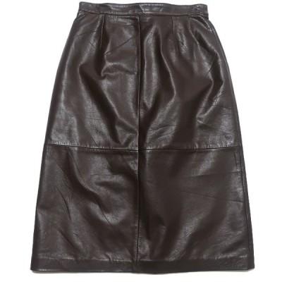 Jacobsons レザースカート GENUINE LEATHER ブラウン サイズ表記:6