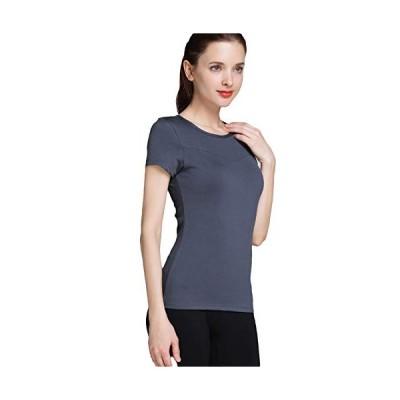 (ラビウェル) Laviwell 吸汗速乾 Tシャツ カップ付き 半袖 スポーツウェア レディース FY-03 (S グレー)