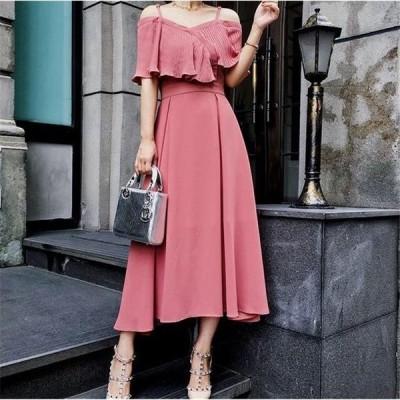 ワンピース ドレス パーティードレス   おしゃれ フォーマル   シフォン オフショルダー ピンク シフォン ミモレ丈 ロング ドレス ワンピ 10代 20代 30代-P552
