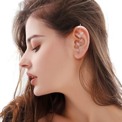 ED148-18耳ラップクローラーフックイヤリング、耳介クリップジュエリーの周りのサッシュ耳針、ゴールドのシンプルな低刺激性女性クローラーイヤリング、スパークリングメタルクラシックイヤリング