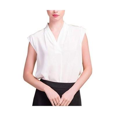 (MAYUDAMAシルク)シルク100% シルク シャツ ブラウス Vネック ノースリーブ シルクシフォン 白 ゆったり エレガント おしゃ