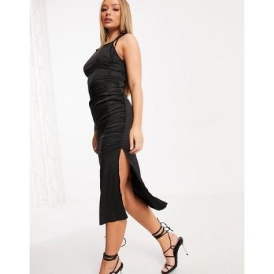 ナーナー レディース ワンピース トップス NaaNaa racer neck satin dress with side split in black Black