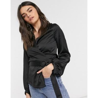 エルビ レディース シャツ トップス Elvi wrap blouse in black