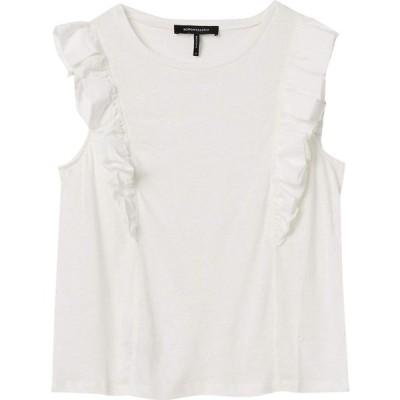 ビーシービージーマックスアズリア BCBGMAXAZRIA レディース ノースリーブ トップス Sleeveless Ruffle Knit Top Optic White