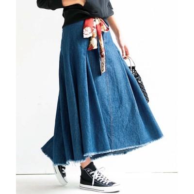 【ジーラ】 スカーフ付ロングフレアースカート レディース デニム 58 GeeRa