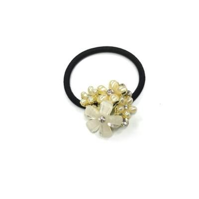 ヘアーアクセサリー ゴムボニー ポニーテール パールフラワー 小花ビジュー 可愛い 白い花 W3cm P-19004