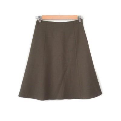 【中古】アンテプリマ ANTEPRIMA DOUBLE STRETCH スカート フレア ストレッチ ウール 36 茶 カーキ レディース 【ベクトル 古着】
