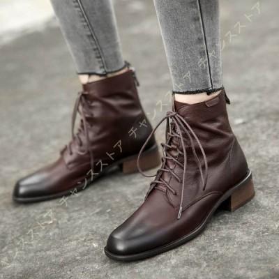 本革 編み上げショートブーツ レースアップブーツ レディース 靴 疲れない靴 秋冬 痛くない 歩きやすい 楽ちん 甲高幅広 外反母趾 スクエアトゥ おしゃれ 消臭