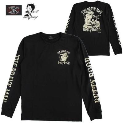 ベティーブープ Betty Boop メンズ 長袖Tシャツ ロンT The BRAVE-MAN ザ・ブレイブマン 刺繍
