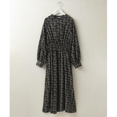 ウエストシャーリングバンドカラー花柄ロングワンピース(サコッシュ付) (ワンピース)Dress