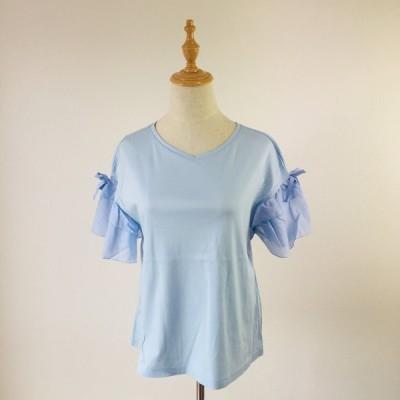 カットソー ギャラリービスコンティ 袖切替フリルのTシャツ ブルー M ビスコンティ2 大人かわいい服