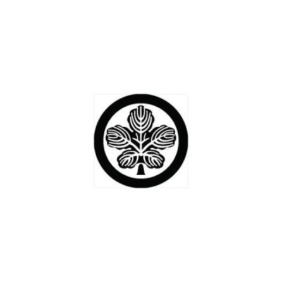 家紋シール 石持ち地抜き梶の葉紋 直径4cm 丸型 白紋 4枚セット KS44M-1994W