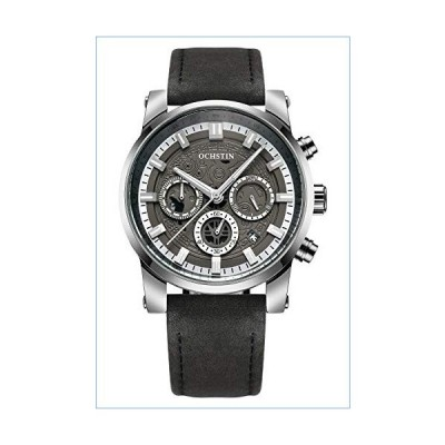 Men's Chronograph Low-Key Silver Grey Quartz Watch Leather Strap Full Calendar Military Waterproof Watch (Silver Grey)並行輸入品