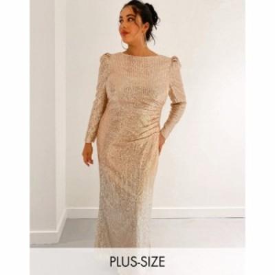 ジェイデッドローズ Jaded Rose Plus レディース ワンピース マキシ丈 exclusive ombre sequin maxi dress in gold and silver ゴールド/