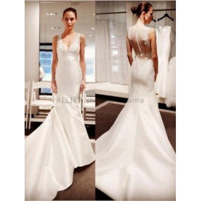 ウェディングドレス/ステージ衣装 クラシックレースサテンホワイト/アイボリーウェディングドレスホワイト/アイボリーマーメイドNEW