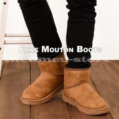 ショートブーツ ムートン風 スエード調 厚底 メンズ 靴 あったか 防寒 シンプル 定番 スタンダード 秋冬