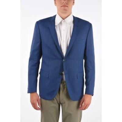 CORNELIANI/コルネリアーニ Blue メンズ virgin wool GATE side vents notch lapel 2-button blazer drop dk
