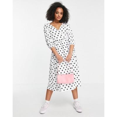 エイソス ミディドレス レディース ASOS DESIGN midi smock dress with wrap top in black and white spot エイソス ASOS マルチカラー