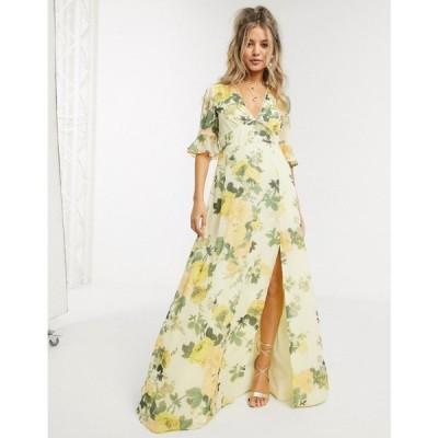 ホープ&アイビー Hope & Ivy レディース ワンピース マキシ丈 ワンピース・ドレス Maxi Tea Dress In Lemon Floral マルチカラー
