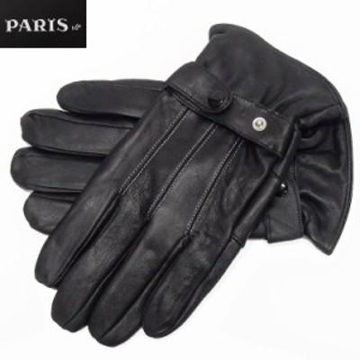◆手袋◆PARIS16e 羊革/シープスキン 黒 メンズ グローブ メール便可 LAM-N09-BK