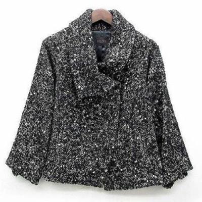【中古】デプレ DES PRES トゥモローランド ネップ ツイード ジャケット ビッグカラー ウール ブラック 黒 1 美品 レディース