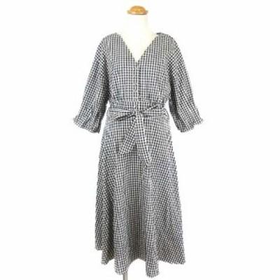 【中古】ナチュラルクチュール natural couture ワンピース ギンガムチェック ロング 5分袖 Vネック 黒 白 F ■VG