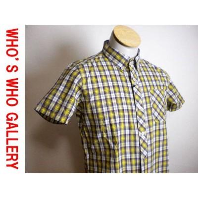 新品 ♪★ フーズフー 半袖シャツ 黄茶チェック サイズM ★