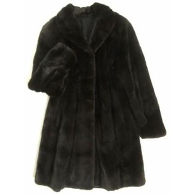 美品▼BLACKGLAMA MINK ブラックグラマ ミンク 裏地総柄 本毛皮コート ダークブラウン 毛質艶やか・柔らか◎