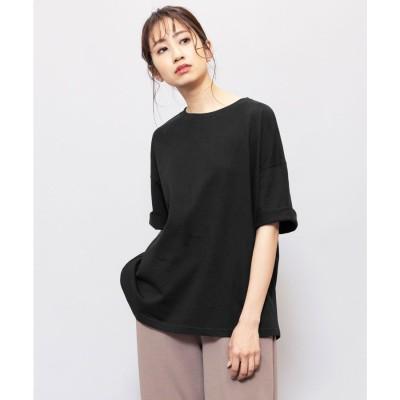 ミリアンデニ mili an deni 240g裾ラウンドBIGTシャツ (ブラック)