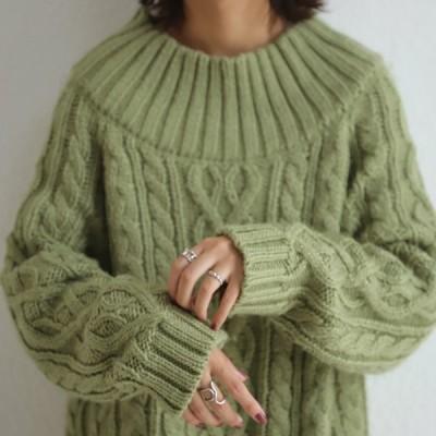 ニット レディース トップス 長袖 セーター ハイネック 模様編み・メール便不可