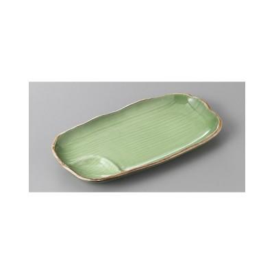 (業務用・仕切皿)緑彩仕切付長皿(入数:5)