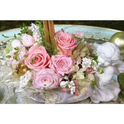 母の日 プリザーブドフラワー  結婚祝い 還暦祝い 誕生日 記念日 お祝い 贈り物 プレゼント ピンク キャンドル s-026