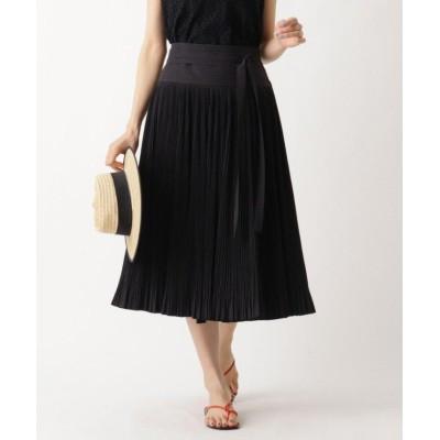 【アクアガール】 ◆INSCRIRE ベルテッドプリーツスカート レディース ブラック 00 aquagirl