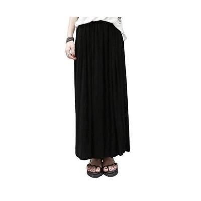 [レッドレイ]グレー マキシ丈 プリーツ スカート 美脚 体型カバー ロングスカート