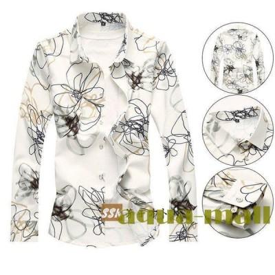 アロハシャツ メンズ 大きいサイズ 40代 50代 長袖シャツ カジュアルシャツ ハワイアン トップス お兄系 旅行 花柄