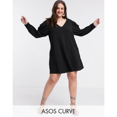 エイソス ドレス 大きいサイズ レディース ASOS DESIGN Curve mini swing dress with v neck and pleated sleeve in black エイソス ASOS ブラック 黒