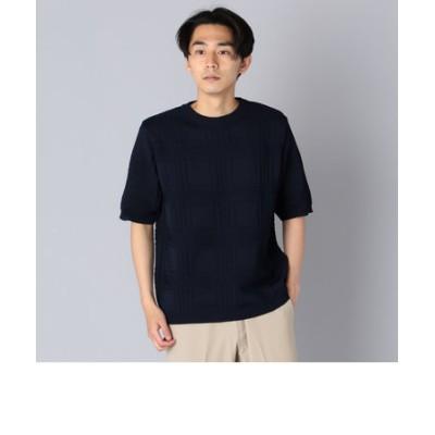 SHIPS: japan quality AMOSSA(R) リンクス チェック ニットTシャツ