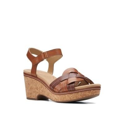 クラークス サンダル シューズ レディース Women's Giselle Coast Sandals Dark Tan Leather