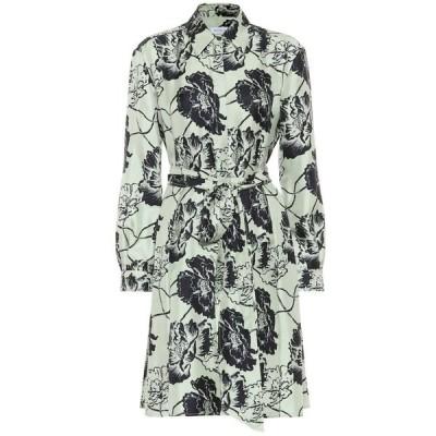 サルヴァトーレ フェラガモ Salvatore Ferragamo レディース ワンピース ワンピース・ドレス floral silk-faille dress Celadon/Navy