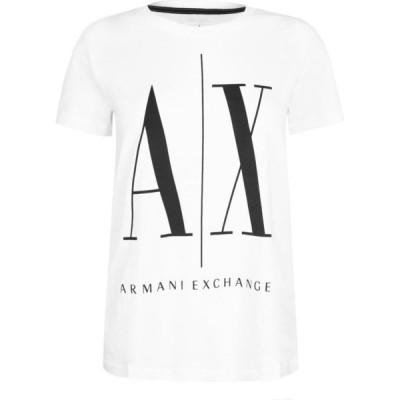 アルマーニ Armani Exchange レディース Tシャツ トップス Foil Logo T-Shirt White
