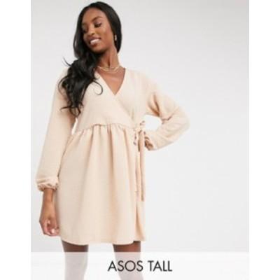 エイソス レディース ワンピース トップス ASOS DESIGN Tall smock oversized mini wrap dress in camel Camel