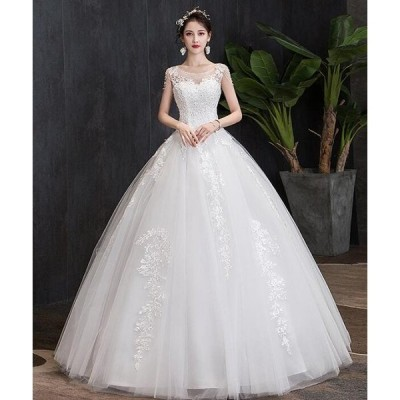 レディース ウェディングドレス チュール重ね プリンセス 刺繍柄 スレンダーライン ブライダル 花嫁 結婚式 二次会 お呼ばれ 2枚送料無料