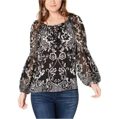レディース 衣類 トップス I-N-C Womens Crinkle Sleeve Pullover Blouse ブラウス&シャツ