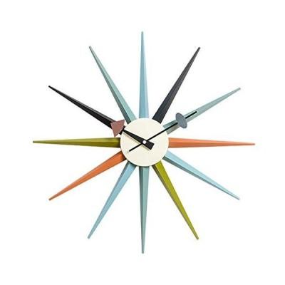 海外限定 SHISEDECO Modern George Nelson Sunburst Clock Multicolor - Non Ticking,Wooden Mid Century Retro Design Decorative Silent Wall Q