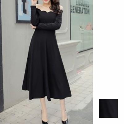 韓国 ファッション レディース ワンピース パーティードレス ロング マキシ 秋 冬 パーティー ブライダル naloC529 結婚式 お呼ばれドレ