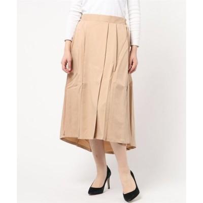 スカート ツイルプリーツ切替ミモレ丈スカート