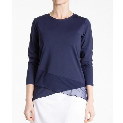 ベッテアンドコート レディース Tシャツ トップス Crossover Jewel Neck Long Sleeve Top