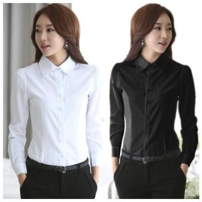 シャツ レディース  ホワイトワイシャツ KL オフィス 長袖 無地 ビジネス 制服 事務服 女性  通勤 OL フォーマル 大きいサ