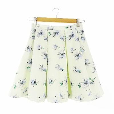 【中古】トランテアン ソン ドゥ モード 31 Sons de mode スカート フレア ミニ 花柄 タック 36 緑 グリーン /AAM30