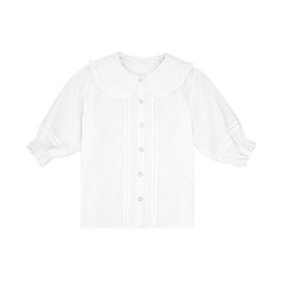 レディース ブラウス ロリータ シャツ 半袖 トップス 夏 可愛 白 (ホワイト, M)